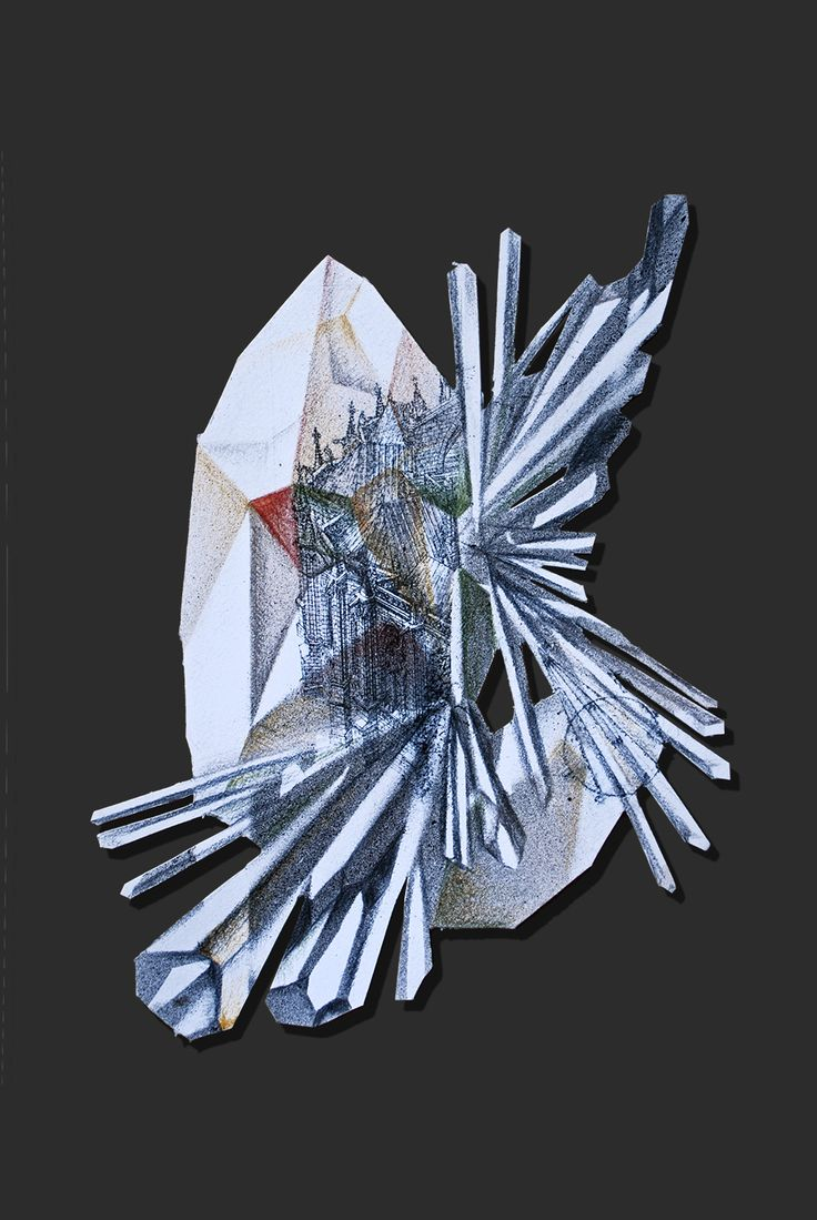 """Lapis Philosophorum"" - The Mineral Resonance by G&K Lusikova #alchemy #architecture #art #contemporaryart #paper #etching #crystal #science"