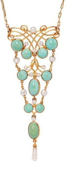 An Art Nouveau 14kt Gold, Turquoise, and Pearl Pendant, set with turquoise cabochons and pearls, suspended from delicate chain.