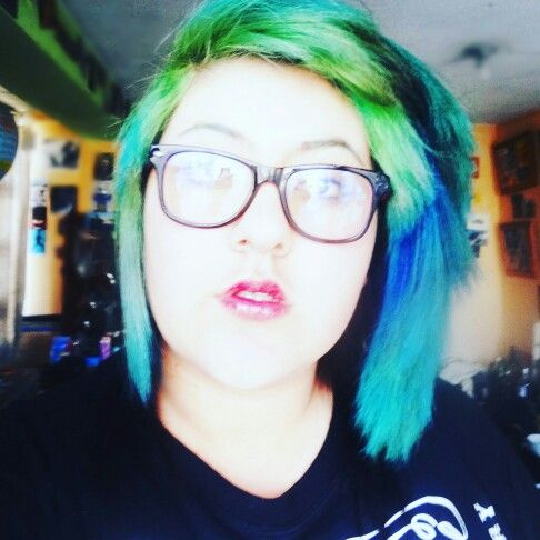 Green and blue #rainbow #hair