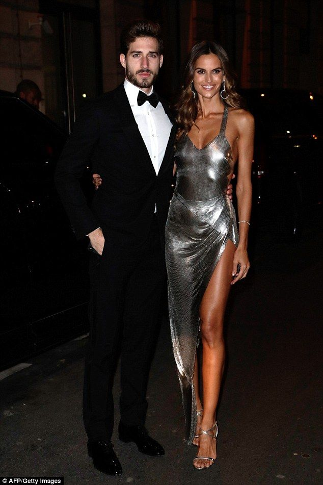 Sensational:Izabel Goulart, 33,  slipped into a figure-hugging silver gown on Sunday as s...