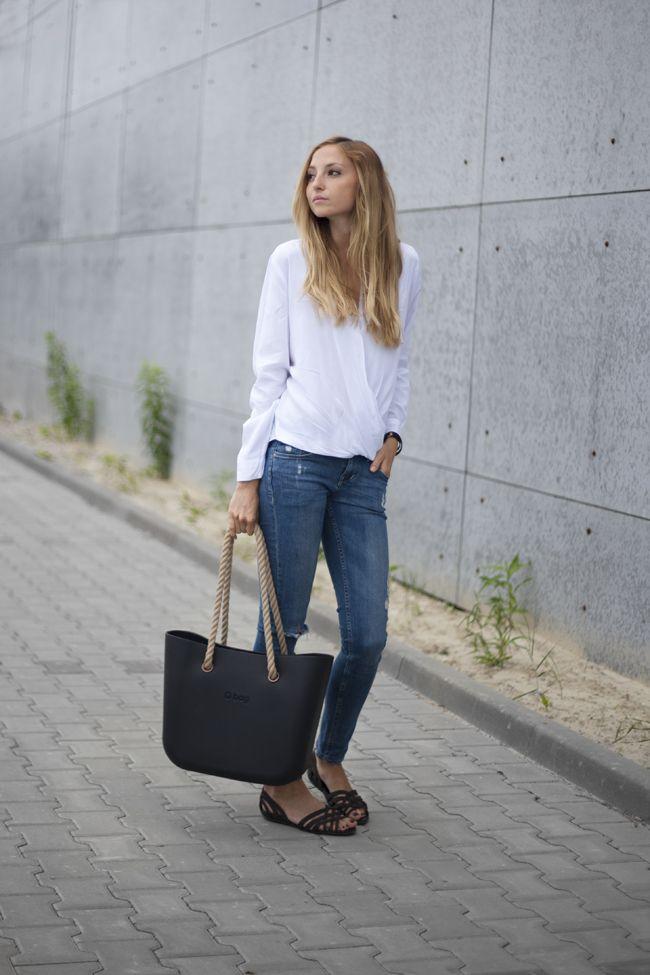 Fullspot O Bag in Black with Natural rope handle #Handbags