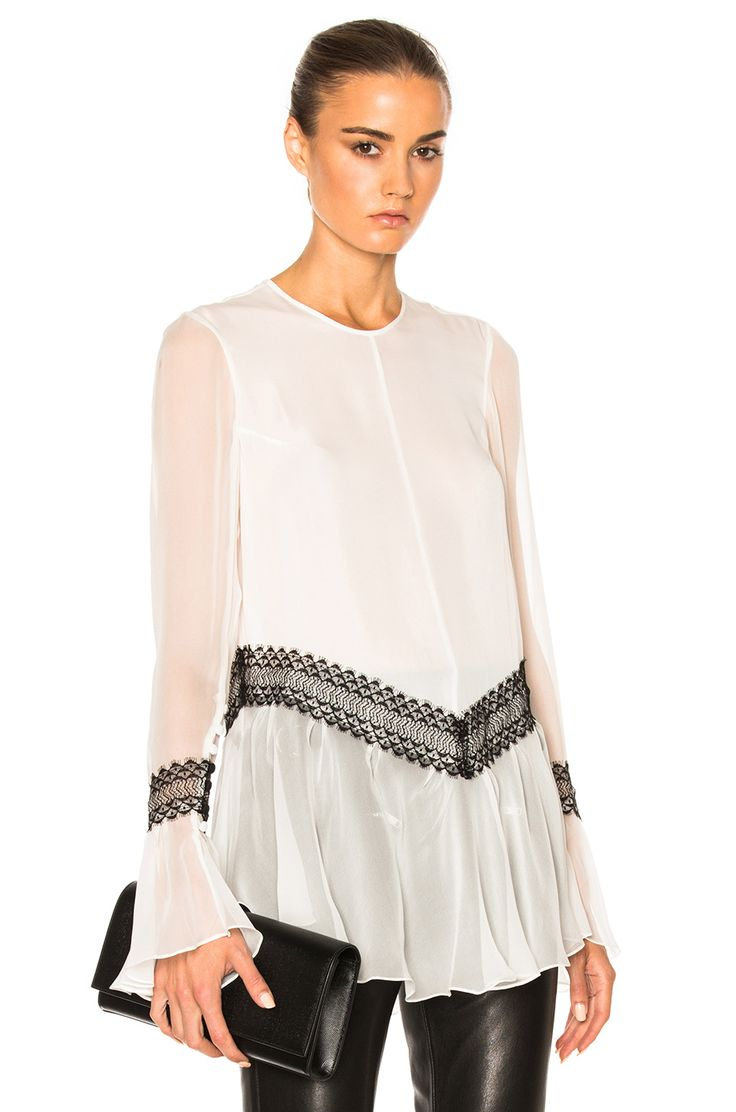 Image 1 of Wes Gordon Silk Trim Ruffle Top in White