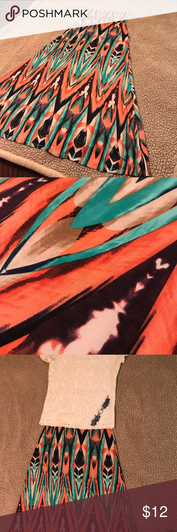 Coral, Cream, & Turquoise maxi skirt Soft, stretchy, comfortable maxi skirt by Diosa. Purchased at a local boutique. EUC. Wore a few times but no signs of wear. Beautiful colors of coral, cream, turquoise, and navy. Excellent for summer wear! Diosa Skirts Maxi