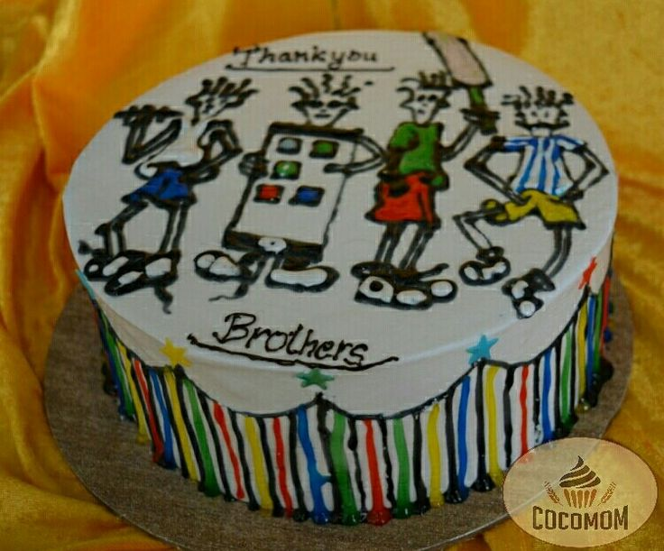 """When client asks a #cake for her 4 #brothers..   One with #dumble One with #cricket gear One with #iPhone One with #Moustache...  We came up with a free hand drawing at a fresh cream cake..   #""""Happy #Rakshabandhan""""...😊☺ 🎂💐...🍰  #Chandigarh #Eggless ----------------------------------------  Cake Courtesy: COCOMOM by Asheena Batra 📞9781644740  🎒💌 Delivery in and around Chandigarh Tricity !💌🎒  For more lovely cakes, visit: www.facebook.com/COCOMOM.cakes  *Delivery Charges apply"""