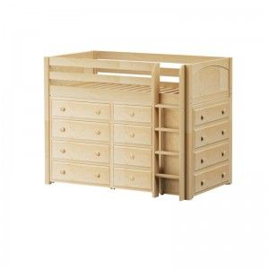 BLING NP : Mid Loft Bed with Straight Ladder, 2 x4 Drawer Dressers & Narrow 4 Drawer Dresser : Twin : Natural : Panel