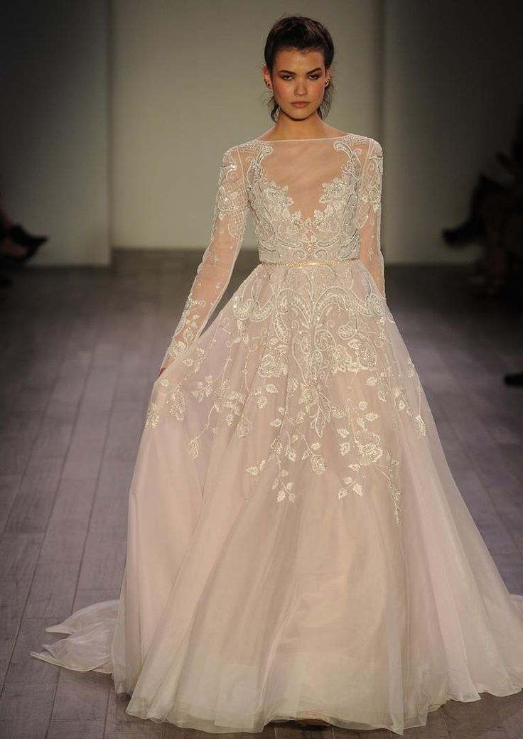Hayley Paige Fall 2016 embroidered organza wedding dress with illusion sleeves | https://www.theknot.com/content/hayley-paige-wedding-dresses-bridal-fashion-week-fall-2016