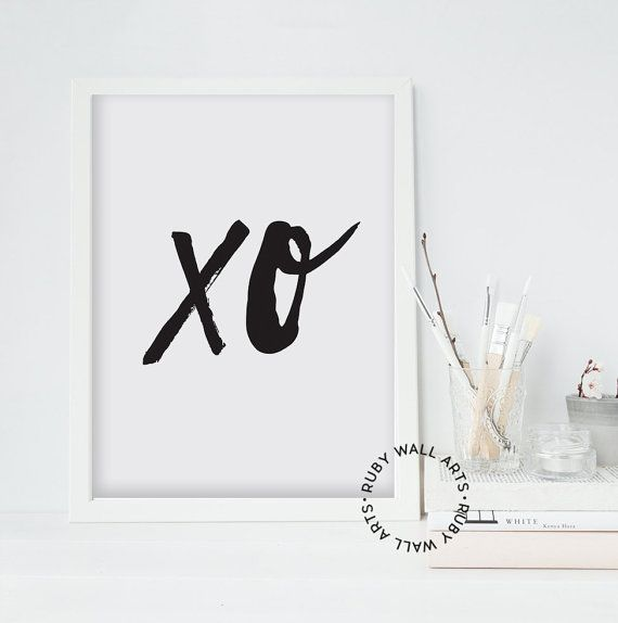 XO Wall Art, Home Decor, Digital Art, Printable, Modern Minimalist Art, Black and White