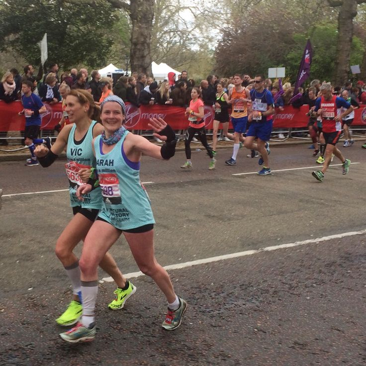 Happy international women's day. This is Vic & me just about to break the 3 legged record at the London Marathon last year. We plan to be back this year, not tied this time, but still running together. #IWD #runtogether