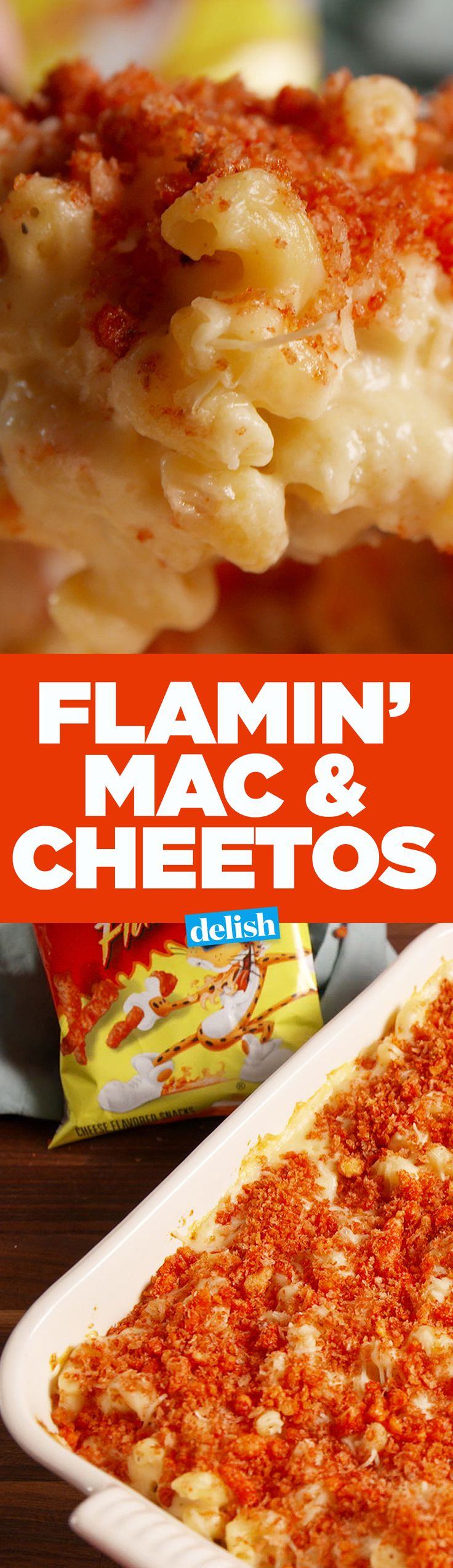 "Our Flamin' Mac & Cheetos has the hottest ""breadcrumbs"" ever. Get the recipe on Delish.com."