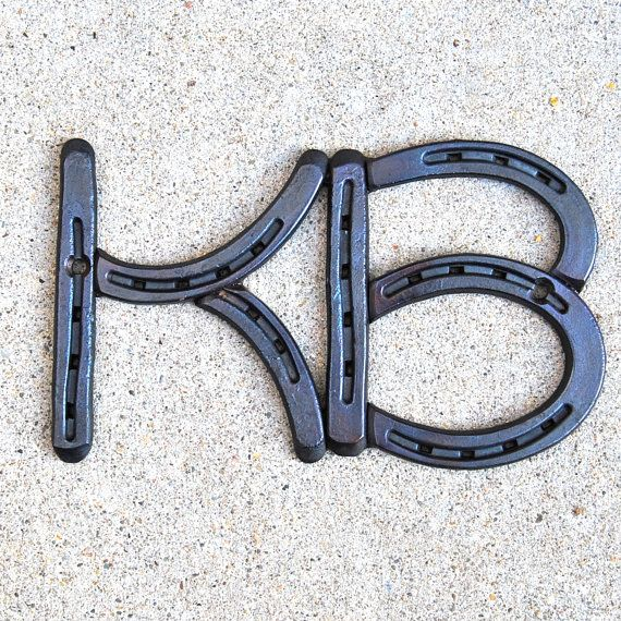 HORSESHOE Letter INITIALS for words A B C D by BlacksmithCreations, $15.99