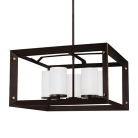 Sea Gull Lighting Chatauqua 22.25-In 5-Light Antique Bronze Etched Glass Cage Chandelier 3140505En-71