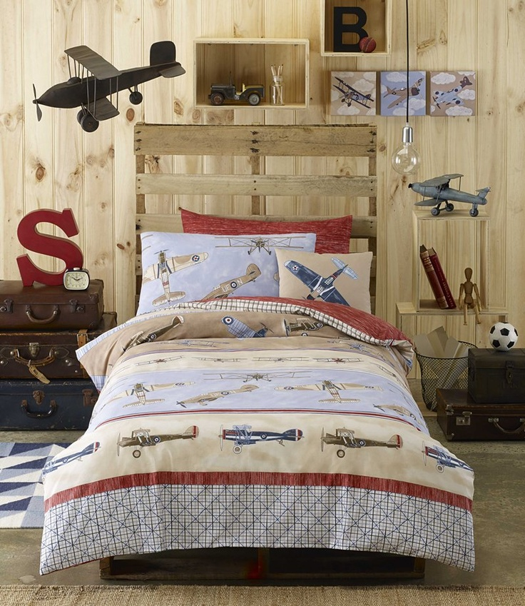 Aviator by Cottonbox Kids.     225 thread count 100% Cotton. Up, up and Away! Bi-planes, monoplanes, jet fighters, cargo planes and bombers all take to the sky for some aeronautical adventures. These magnificent flying machines from the first few decades of the 20th century have been hand drawn and painted in intricate detail - a perfect bed linen design for boys who admire these wonderful early feats of modern aeronautical engineering.