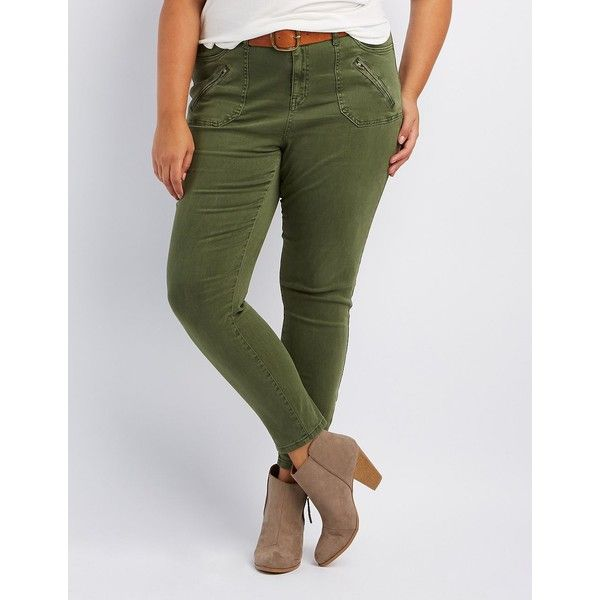 Refuge Skinny Cargo Pants ($39) ❤ liked on Polyvore featuring pants, olive, plus size skinny pants, army green skinny jeans, olive green skinny jeans, olive skinny jeans and olive green cargo pants