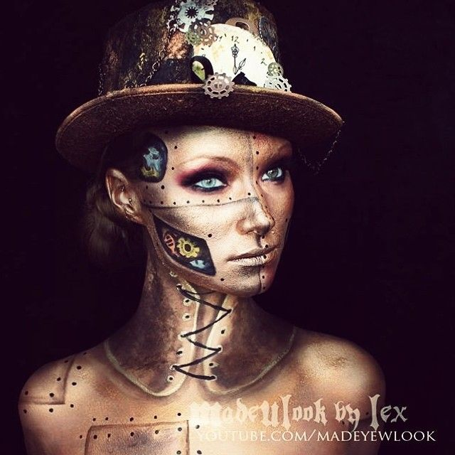 Steampunk halloween makeup tutorial - MadeYewLook by Lex (find the tutorial on YouTube).