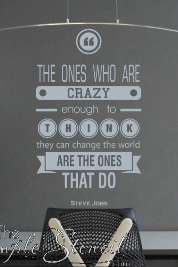 Steve Jobs Crazy Ones Quote Large Wall Decal Transfer Stencil Large Wall Decals Wall Quotes Quote Decals