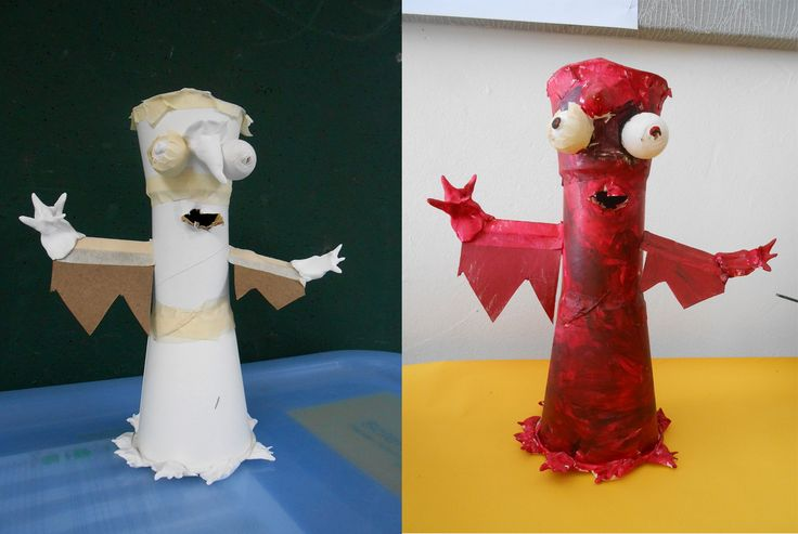 Friend or Foe - sculpture using paper cups, paper pulp balls, cardboard and 'magiclay'. Monochrome colour. Year 3