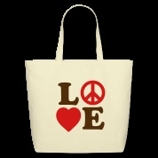 tote bags / Simple and clean custom tote bag with #heart and #peace designs.
