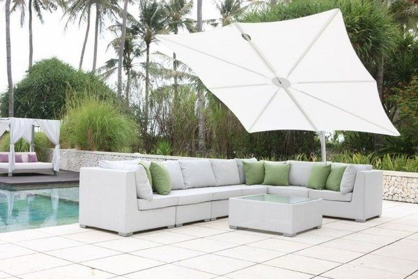patio design swimming pool modern outdoor furniture white rectangular patio umbrella