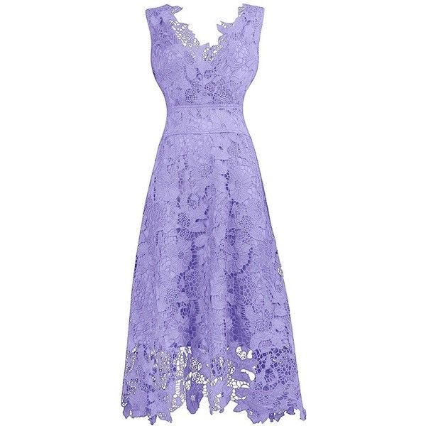 KIMILILY Women's V neck Elegant Floral Lace Swing Bridesmaid Dress ($8.50) ❤ liked on Polyvore featuring dresses, floral bridesmaid dresses, floral print bridesmaid dresses, bridesmaid dresses, purple bridesmaid dresses and flower print dresses