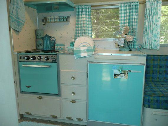 "Vintage Turquoise Blue Kitchen in 1964 Travel Trailer, Oasis ""Bellflower"" Camper Caravan"