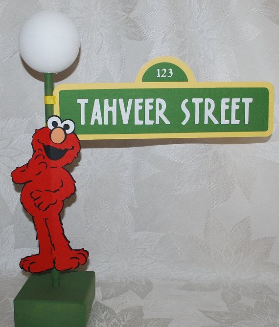 Sesame Street Sign with Lamppost and Elmo by auntjjsattic on Etsy, $32.00