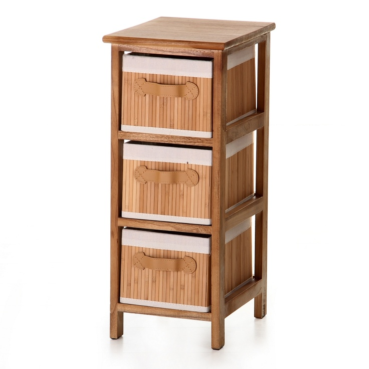 #Mueble #auxiliar de color #madera con 3 cajones. Casa Selección.