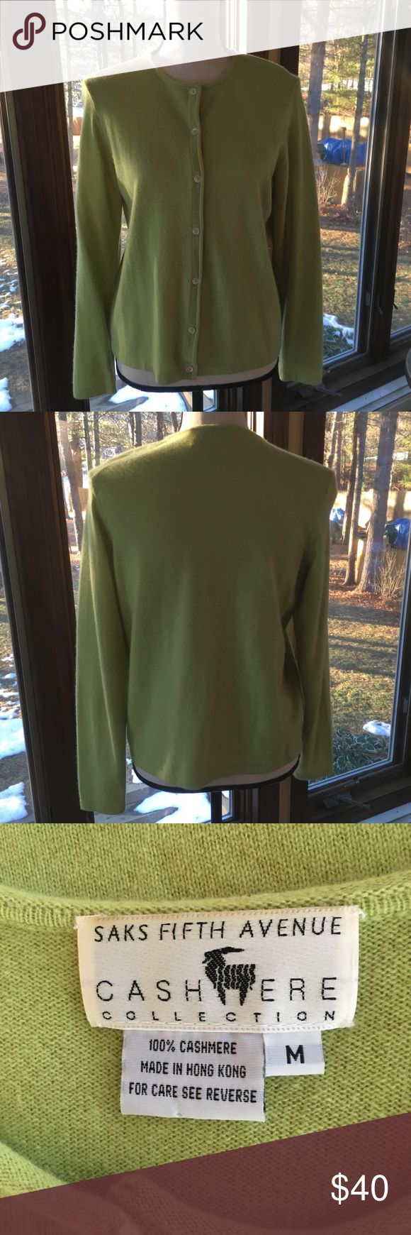 Saks Fifth Avenue Cashmere Cardigan 100% Cashmere Chartreuse green cardigan sweater from Saks Fifth Avenue.  Seven white buttons for closure.  Excellent condition!! Saks Fifth Avenue Sweaters Cardigans
