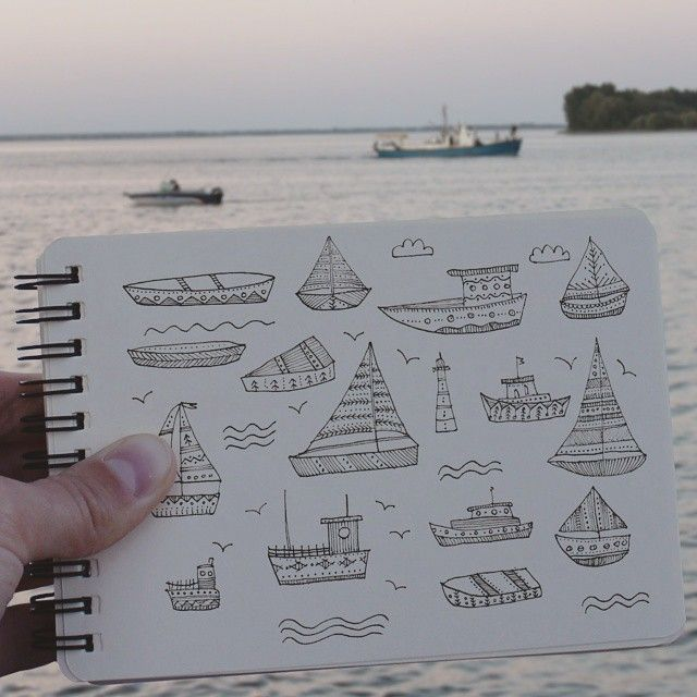 Day 49 of #The100DayProject Boat. #100DaysOfDrawingThingsInDifferentVariations #notabook