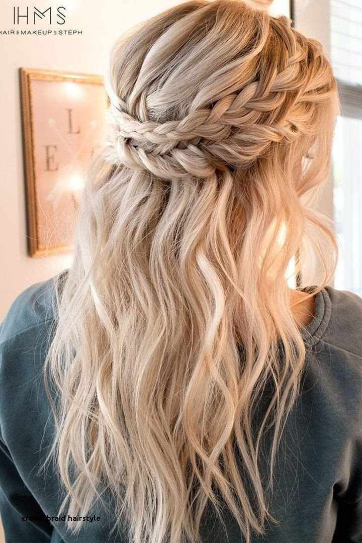 Crown Braid Hairstyle Half Up Half Down Wedding Hairstyles For Medium Length Hair Braid Crown Dress W Medium Length Hair Styles Hair Lengths Hair Styles
