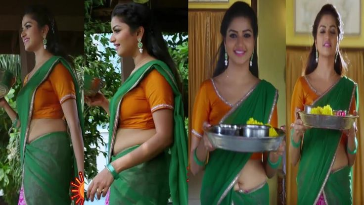 Nandhini Tamil Tv Serial Actress Hotsexy Navel Show In -3095