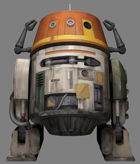 "C1-10P - Nicknamed Chopper, C1-10P is the apparently obsolete-looking astromech droid with a cantankerous, ""pranking"" form of behavior. Part of the crew of rebel protagonists aboard the freighter Ghost on the Star Wars Rebels TV series."