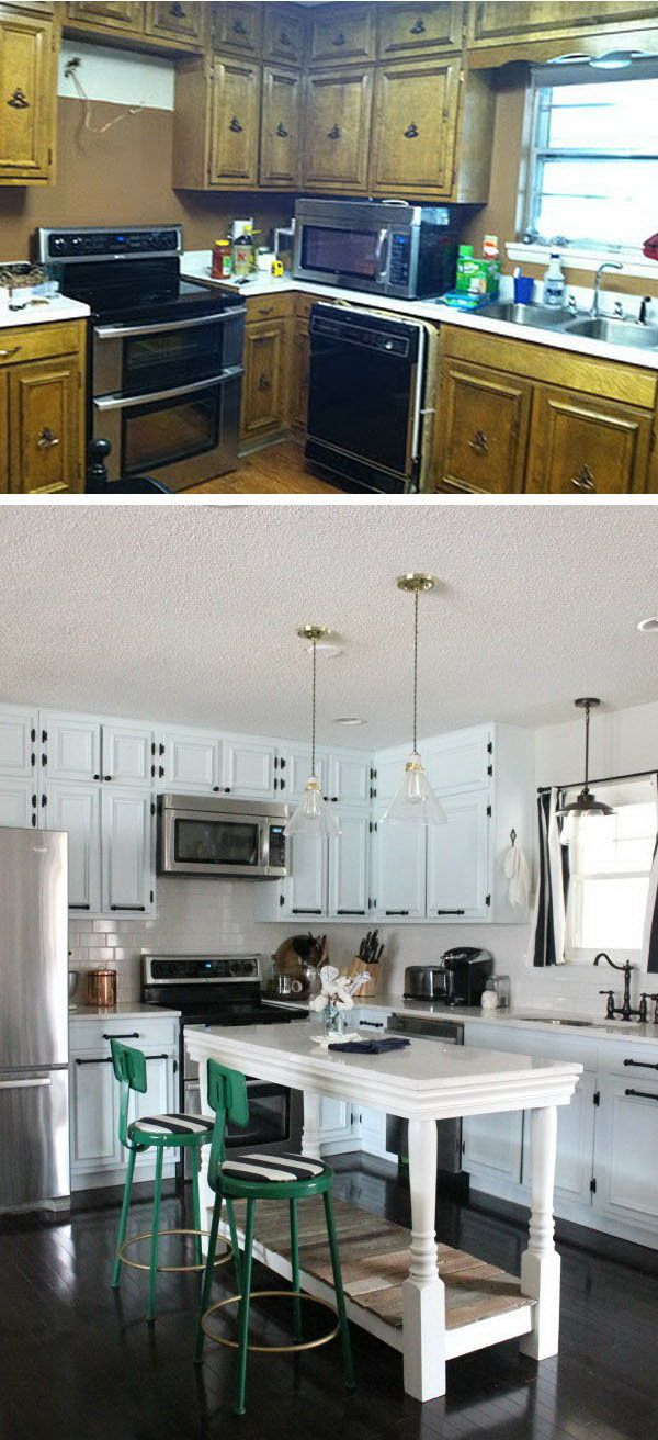 Before and After: an Industrial Modern Kitchen. Instead of replacing the ugly outdated but in good condition cabinets, the householder painted them white and replaced the hardware.