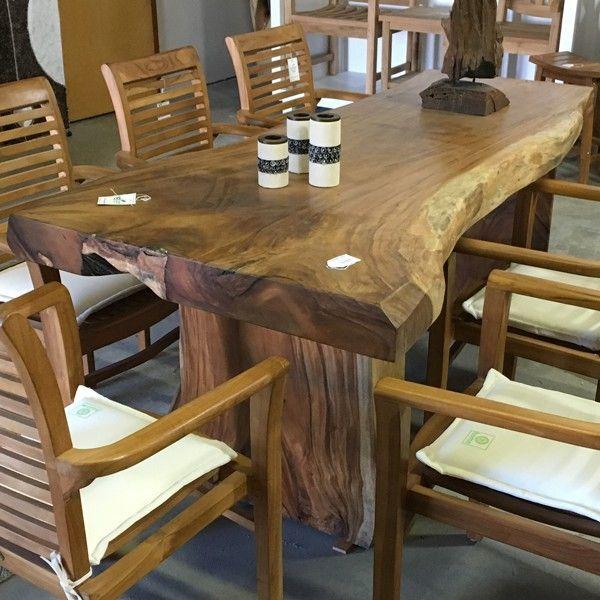 Raintree monkeypod suar wood live edge solid top dining