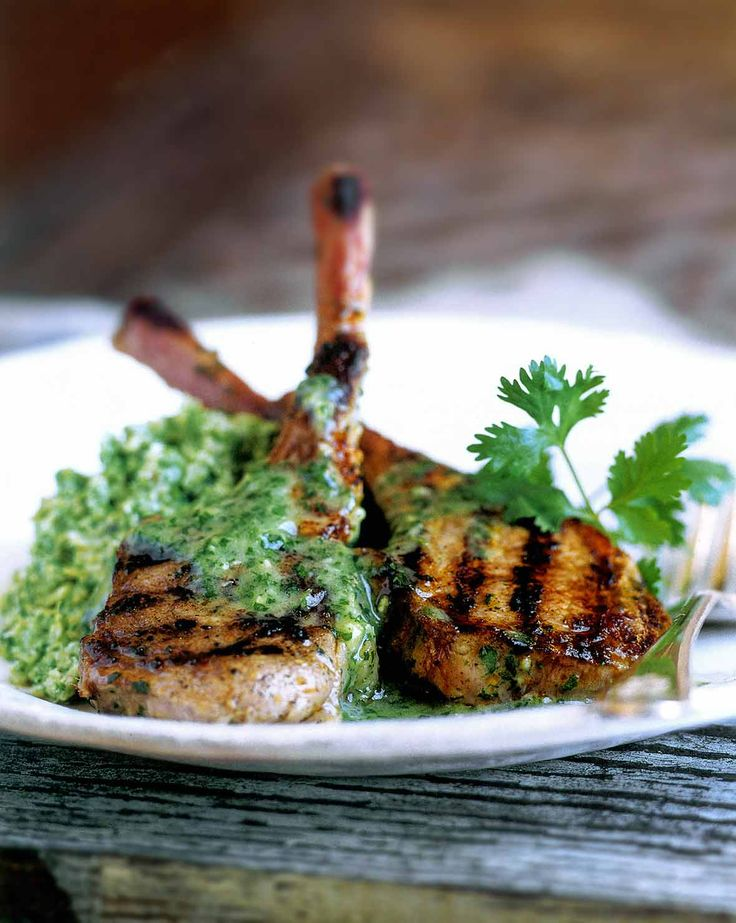 Lamb Chops with Cilantro Mint marinade and sauce from Leite's Culinaria