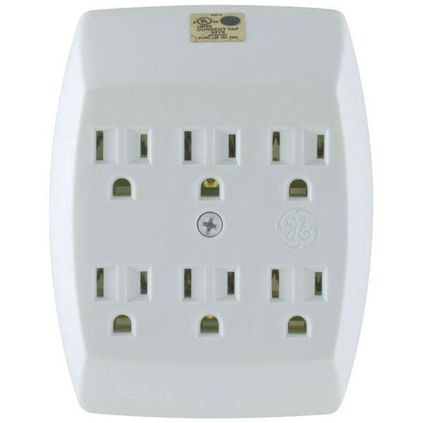 Ge 54947 6-Outlet Grounded Wall Tap