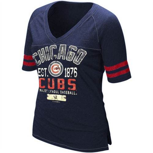 Chicago Cubs Women's 1876 Vintage Contrast V-Neck by 5th & Ocean (3.22.12)