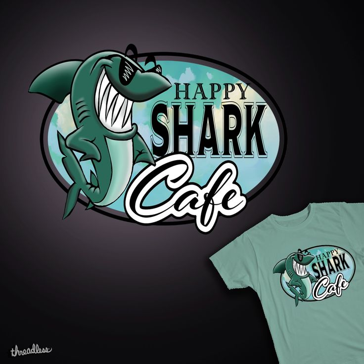 Happy Shark Cafe on Threadless - needs your vote - Your awesome Thanks! found on threadless by psweetsdesign