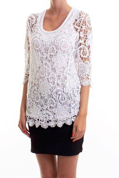 TAKARA TOP - Floral white top with crochet strings. Gennemsigtig hæklet blomster top/bluse.