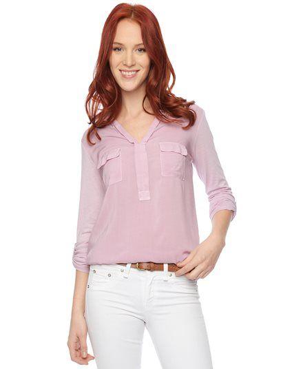 Splendid Official Store, 3/4 Sleeve Shirting Top, quartz pink, Womens : Tops : 3/4 Sleeve, ST9A5964