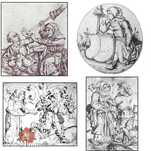 Verschiedene Darstellungen von Bäuerinnen/einfach gekleideter Frauen