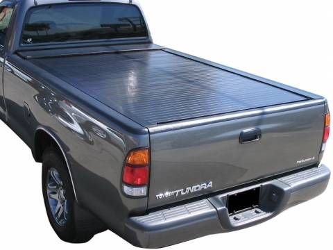 The simplicity of a retracting truck bed cover is the smooth operation of the truck cover sliding in and out of the canister. Teflon self adjusting rails ensure an easy opening and closing motion. The rails also integrate intermittent latching positions so you can have this truck bed cover partially closed when needed.