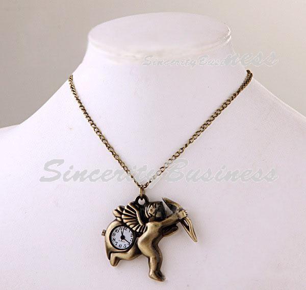 Амур металл карманные часы, Ожерелье, Зеленый налет часы
