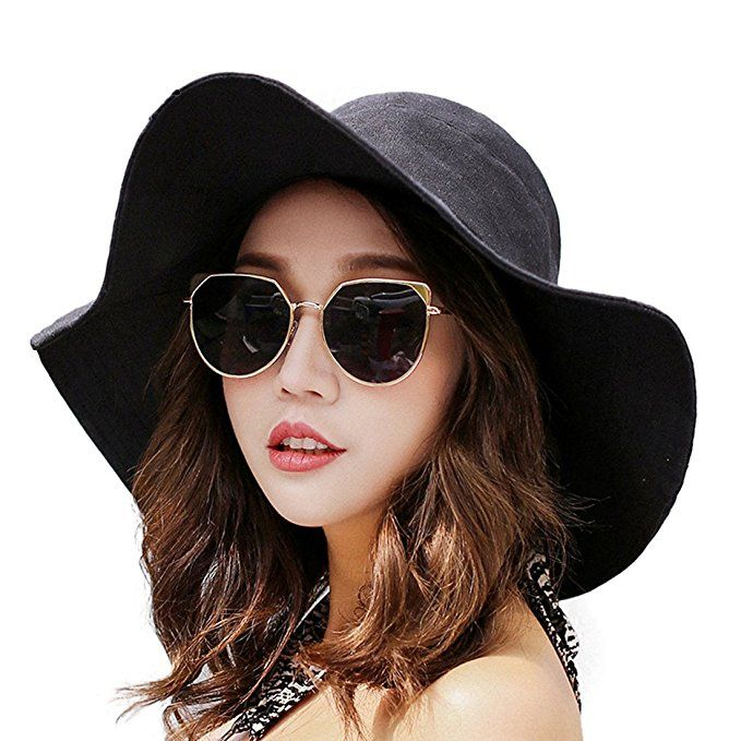 af27f605bcd90 HUAMULAN Women Sun Hat Summer Beach Floppy Cotton Cap Wide Brim UPF 50 Chin  Cord at Amazon Women's Clothing store: