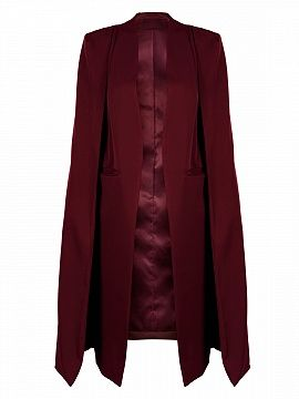Burgundy Collarless Open Front Longline Cape