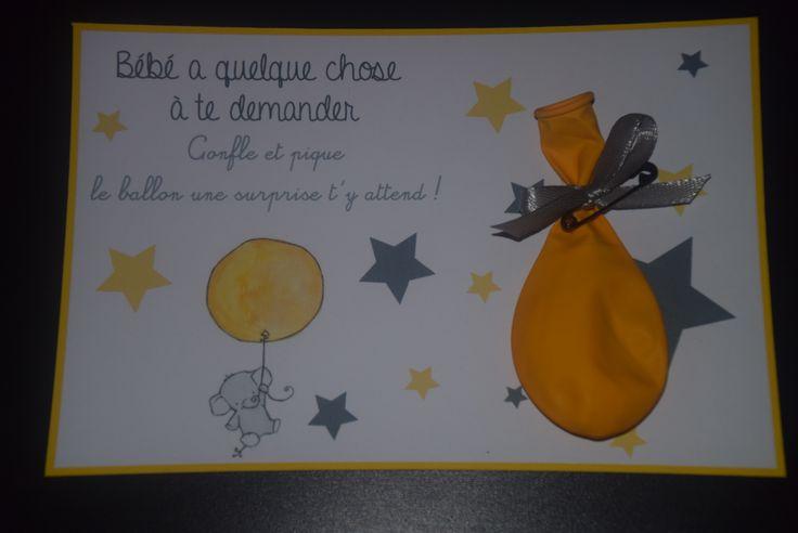 carte ballon veux tu être mon parrain ? demande coloris jaune gris : Autres bébé par lilou652