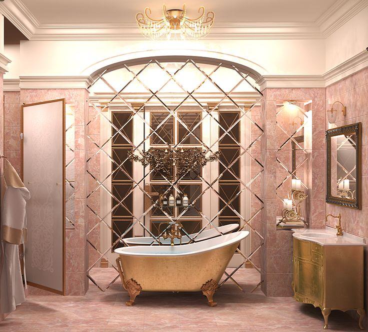 Интерьер ванной комнаты, стены розовый мрамор, альков из зеркал
