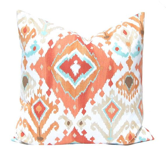 Throw Pillow Cover Pillow Cover Decorative by FestiveHomeDecor, $16.00 Coral Aqua Turquoise Ikat Pillow