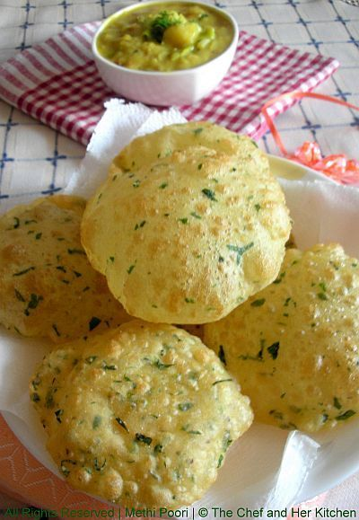 Methi Poori and Potato Masala... Ingredients: 1 cup whole wheat flour 1+1/2 handful all purpose flour 1 cup methi leaves 1/2 tsp ajwain 1 tbsp curds 1/4 cup milk 1 tbsp oil salt to taste oil for deep frying: