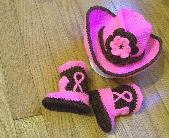 Baby Cowboy Hat And Boots Hot pink and by conniemariepfost on Etsy, $50.00