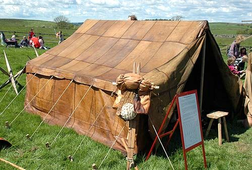 a full scale leather contubernium tent which would house 8 soldiers. Reenactment Event at Birdoswald